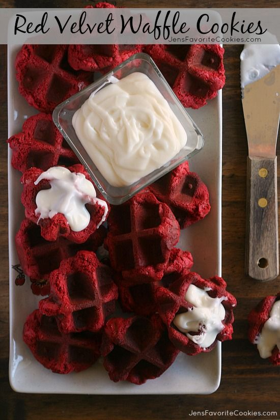 Red Velvet Waffle Iron Cookies from JensFavoriteCookies.com - SO fast and easy to make, with a red velvet cake mix!