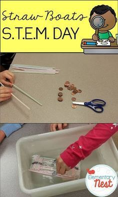New science activity for kids using STEM (Science Technology Engineering and Math education)- science activity for elementary students that requires students in explore how to build a boat out of straw and seran wrap