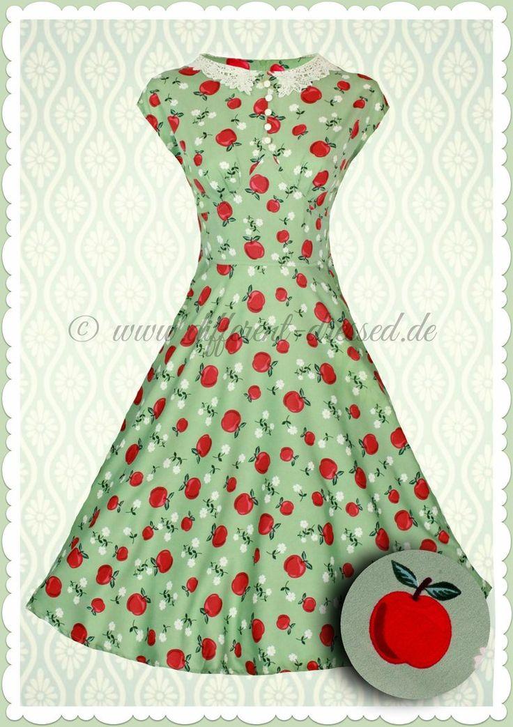 Hell Bunny 40er Jahre Vintage Retro Petticoat Apfel Kleid - Francine - Grün
