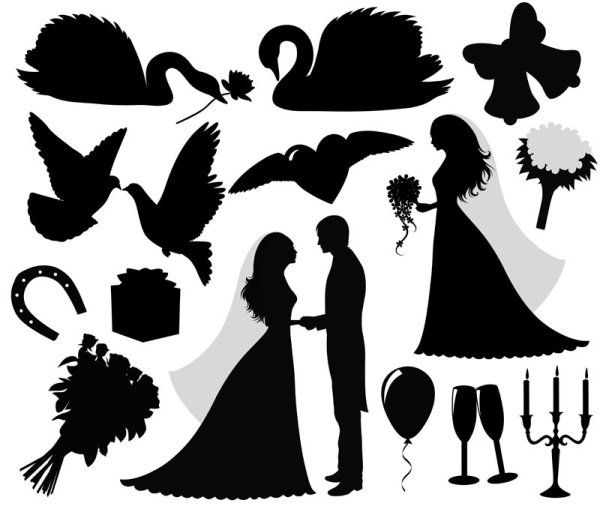 Silhouette Cameo SVG Files | Download free Wedding Silhouette vector design, Vector Design Eps ...