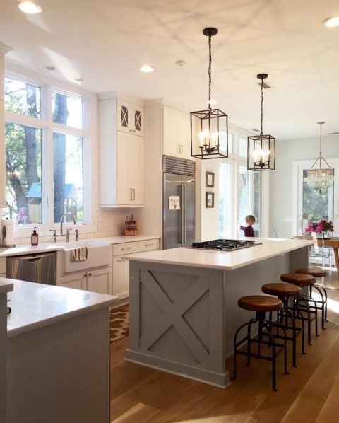I like the cross and extension of the island. Do in craft room? Gray   Farmhouse Kitchen Light FixturesKitchen ...