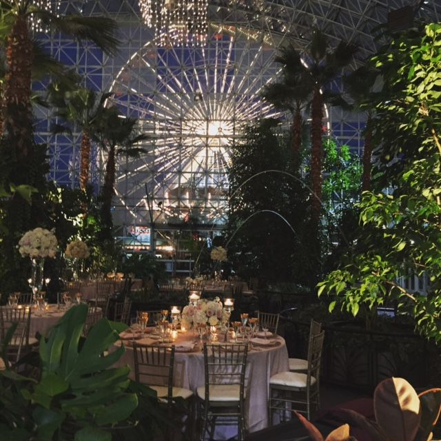 Enchanting Evening Wedding at the Crystal Gardens at Navy Pier with the Iconic Ferris Wheel in the background!