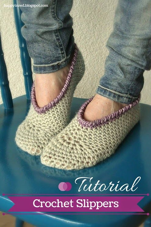 Crochet slippers, - free pattern &  tutorial @ Happy in Red