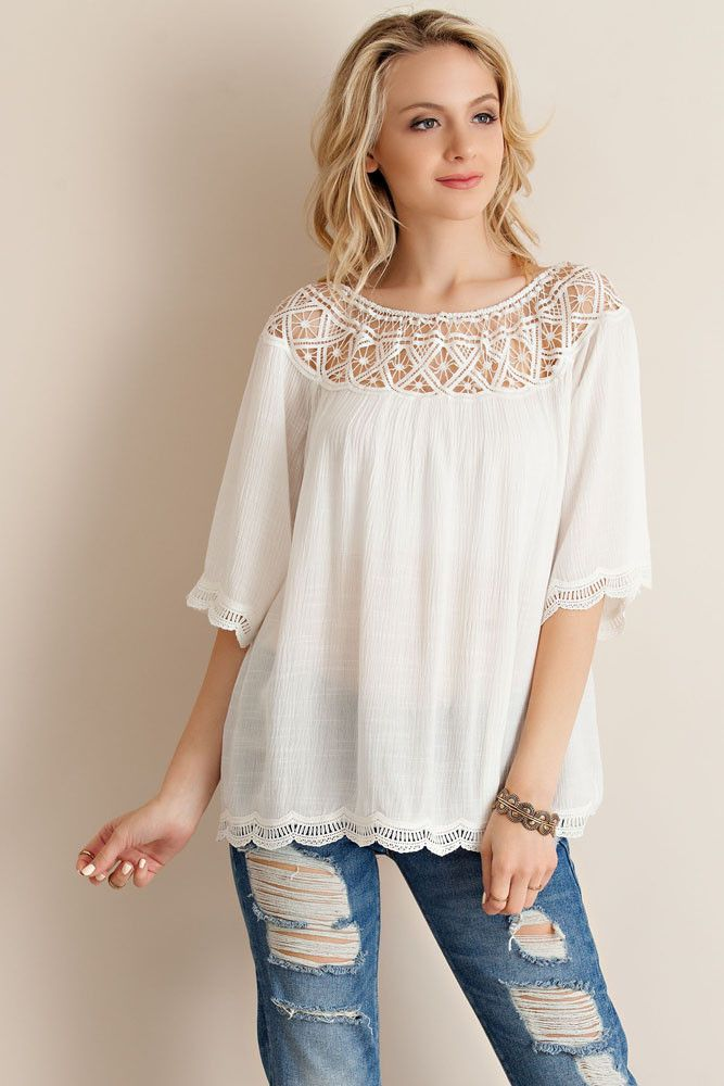Rouched Lace Yoke Top - Off White