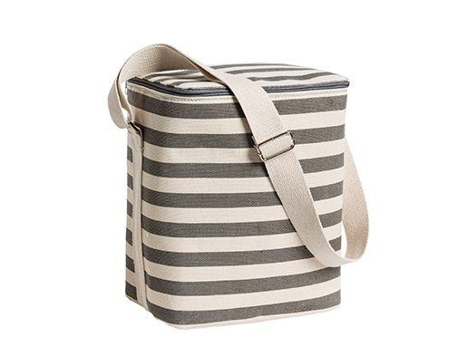 Tela canvas cooler bag grey cream stripe - lge L25xW18xH31cm - Categories