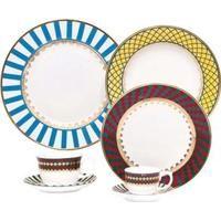 Aparelho De Jantar, Chá, Café E Sobremesa Oxford Porcelanas São Basílio Sm42 9217 - 42 Peças
