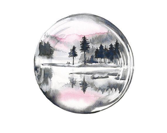 Printable wall art bubble/ dreamy watercolor/ by WatercolorsByOli