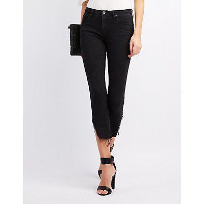 Black Frayed Hem Skinny Jeans - Size 13