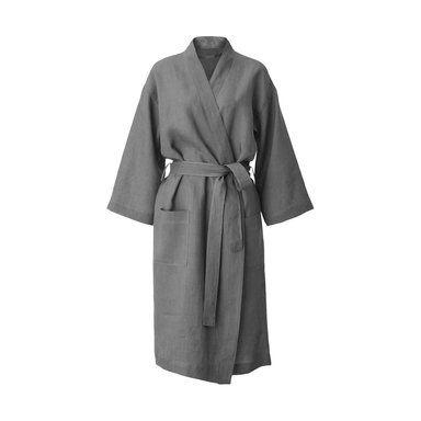 Morgonrock i linne, S/M, mörkgrå