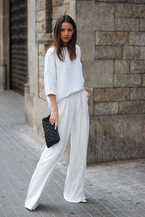 High waisted wide leg pants glamhere.com White flow pants and white sweater