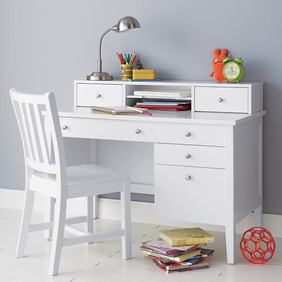 Kids Dressers: Kids White Blake Desk & Hutch in Desks & Chairs | The Land of Nod, $850.00