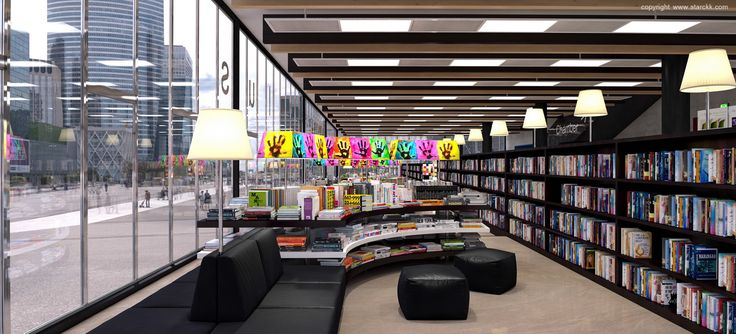 render/infografía 3d de librería/biblioteca realizado por www.starckk.com
