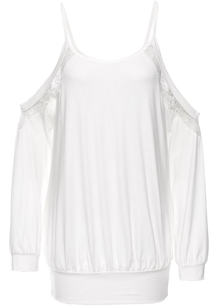 Jetzt anschauen: Modernes Spitzenshirt mit Cut-Outs an den Schultern. Durch den Gummibund am Saum und an den Ärmelenden lässt sich das Shirt besonders schön drapieren. Länge in Gr. 36/38 ca. 76 cm.
