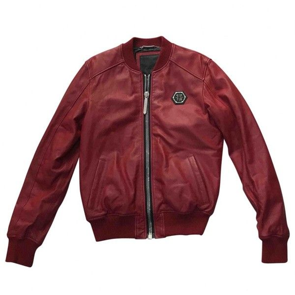 Pre-owned Philipp Plein Leather Jacket ($1,184) ❤ liked on Polyvore featuring men's fashion, men's clothing, men's outerwear, men's jackets, men clothing jackets, red, mens zipper jacket, mens leather bomber jacket, mens bomber jacket and mens leather sleeve jacket