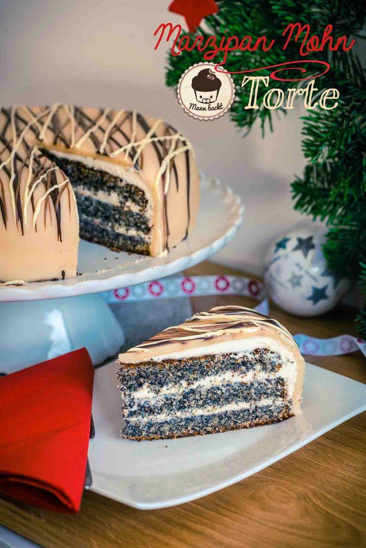 Marzipan Mohn Torte mit Zwetschken Zimt Marmelade [Weihnachtsklassiker]