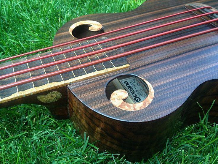 "133 Likes, 5 Comments - Zac Steimle (@oceanaukes) on Instagram: ""Bass ukulele waiting to rock! • • • #ubass #oceanaukes #bass #aquilastrings #maple #walnut #redwood…"""