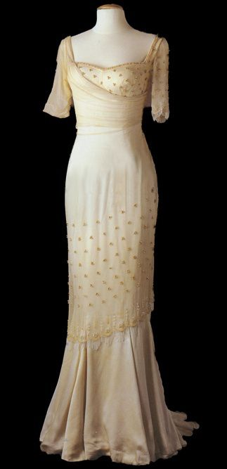 White silk and chiffon gown with handcrafted beading worn by Marilyn Monroe in 'The Prince and the Showgirl' (1954)