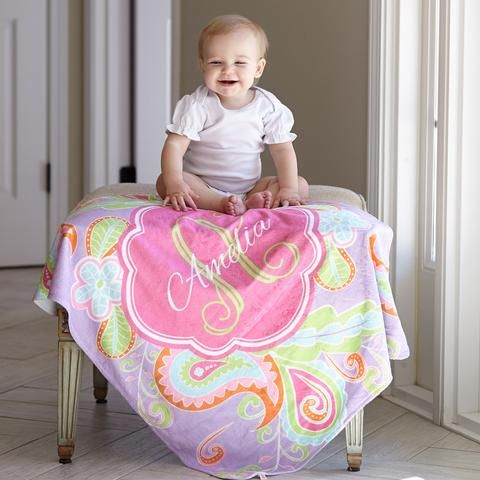 Paisley Name Blanket