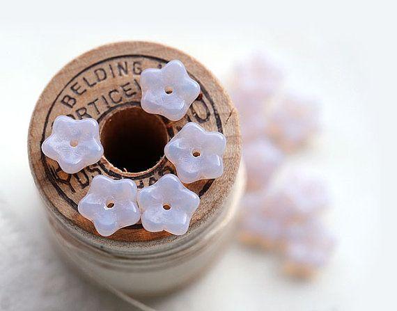 Light lilac Czech glass Flower beads  small bells by MayaHoney