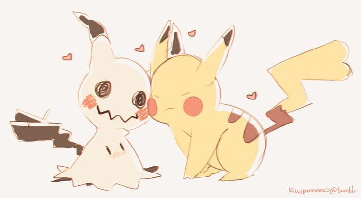 e621 2016 <3 ambiguous_gender blush dipstick_tail female feral kiwipancakes mimikkyu multicolored_tail nintendo nuzzling pikachu pokémon red_cheeks rosy_cheeks simple_background tailwag video_games white_background yellow_body