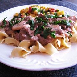 Easy Beef Stroganoff - Allrecipes.com I used flat iron steak cut into 1/8th in slices instead of the ground beef. Delicious!