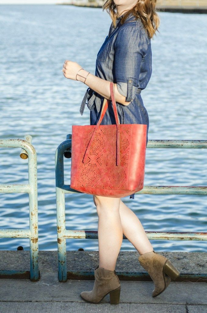 The Chambray Shirt Dress and a Bright Bag: A Date Night Look - Bloom Boutique Blog