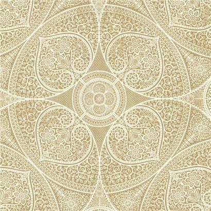 metallic gold medallion wallpaper