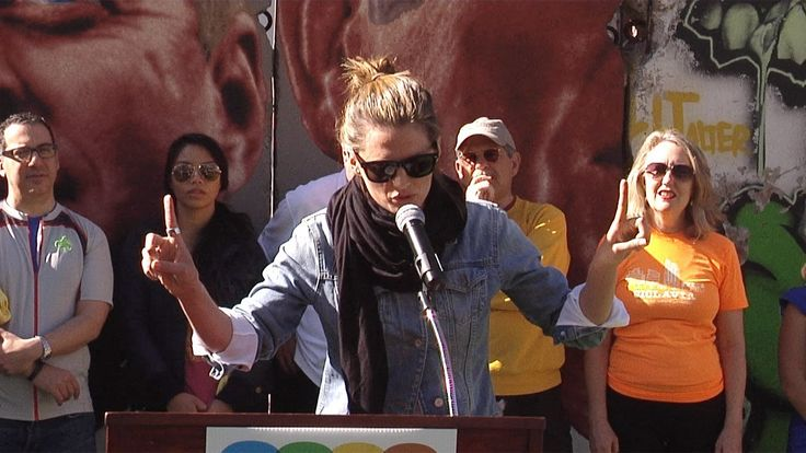 """Ciclavia >> Stana Katic Speech on """"Alternative Travel Project"""" at the 9th Annual CicLAvia Iconic Wilshire ..."""