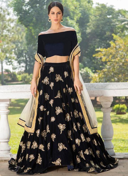 76a6bf3408 Navy Blue and Gold Off Shoulder Velvet Lehenga   wedding ideas on a ...