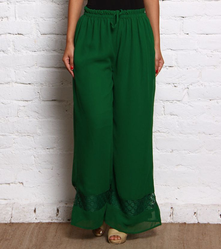 Green Rayon Palazzos #indianroots #fusionwear #palazzos #rayon