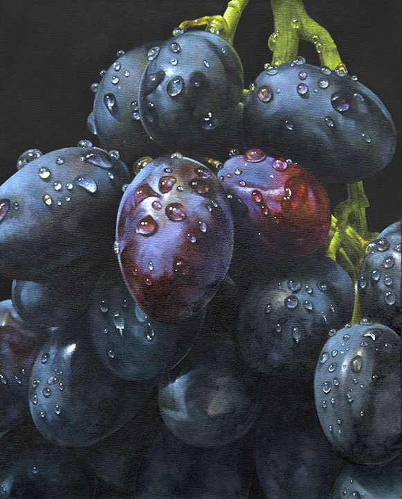 I adore photorealistic painting in general, and if it's beautiful fruit, wow!  oil on canvas painting by James Neil Hollingsworth