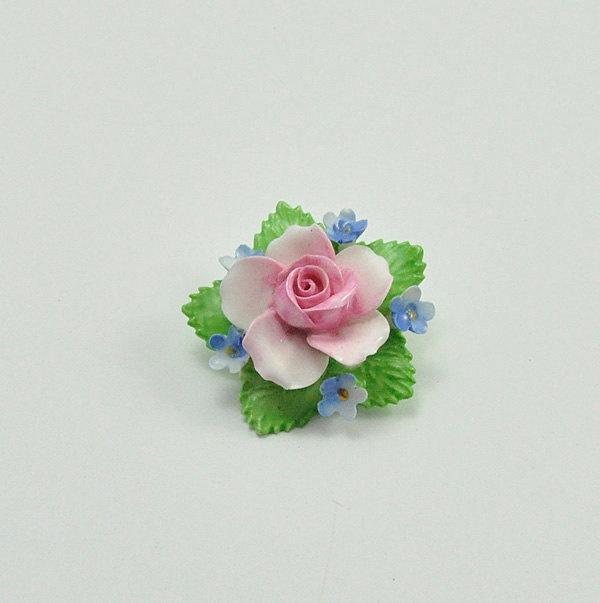 Vintage 1950s Denton Bone China Rose Brooch Pin
