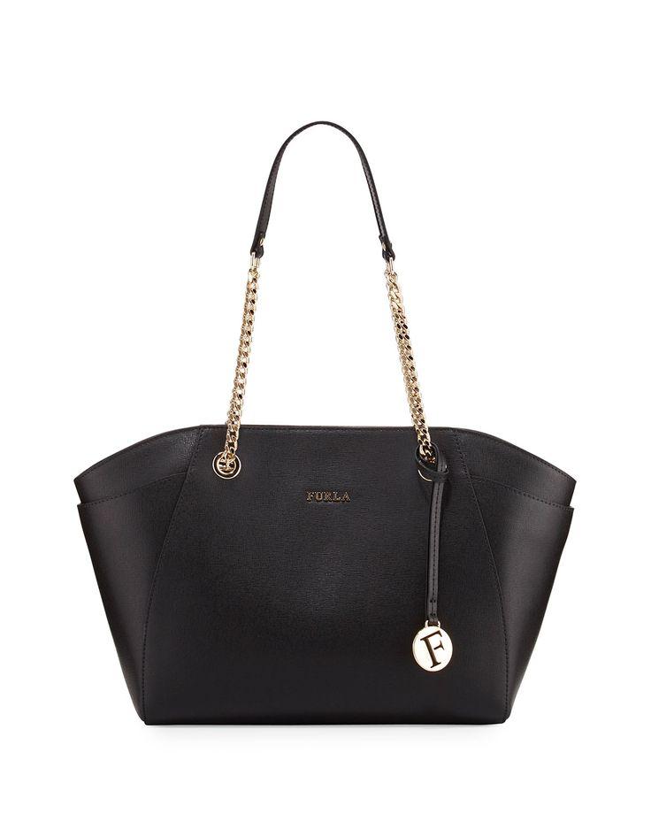 Furla Julia Medium Leather Tote Bag, Onyx (Black), Women's, Size: M