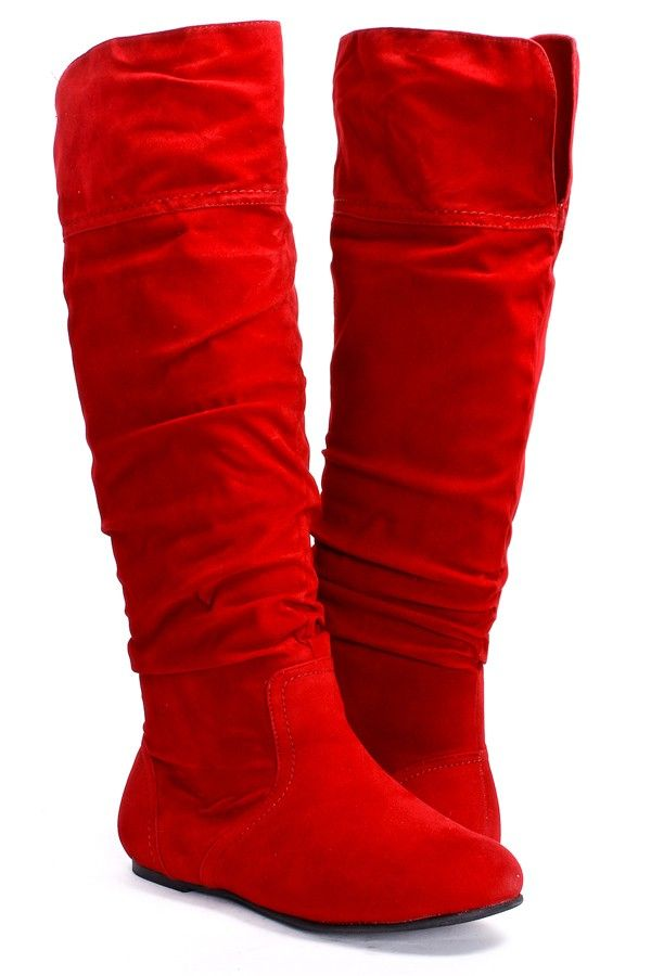 RED VELVET RUCHED KNEE HIGH FLAT BOOTS