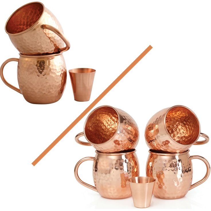 Amazon.com: Set of 2 Moscow Mule Copper Mugs with Shot Glass - Two 16 Oz Copper Moscow Mule Mugs - Solid Copper Hammered Mug - Copper Cups for Moscow Mules: Kitchen & Dining | @giftryapp
