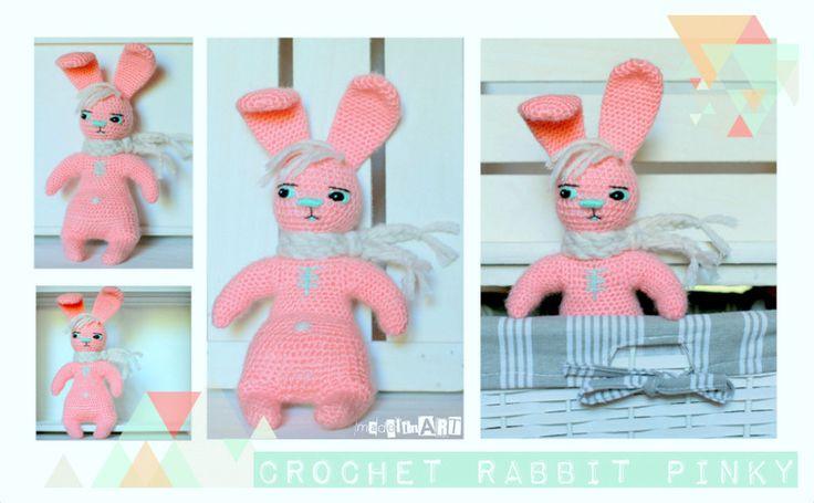 Zabawka przytulanka CROCHET RABBIT Pinky - MadelinART - Maskotki i pluszaki