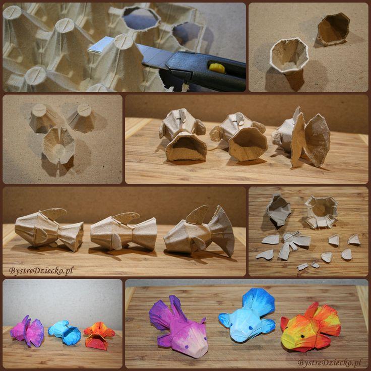 Recyklingowe rybki z wytłaczanki do jaj w ramach zajęć plastycznych dla dzieci