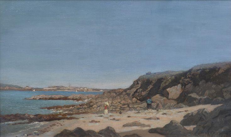 Henri Hombron (1834-1907) Plage a Dinard anime, levendig strand bij Dinard - Artiquair