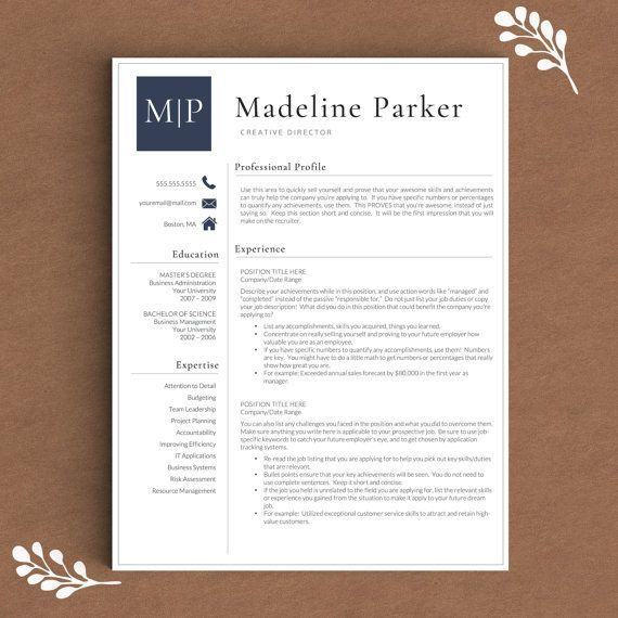 Professional Resume Template For Word | 1, 2 And 3 Page Resume Template +  Cover