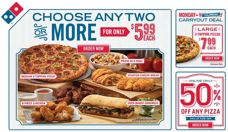 For even more coupons, find your local Domino's restaurant to see pizza deals near you. Check back frequently to make sure you're getting the best deal on your next order of pizza, pasta, wings, or salad.