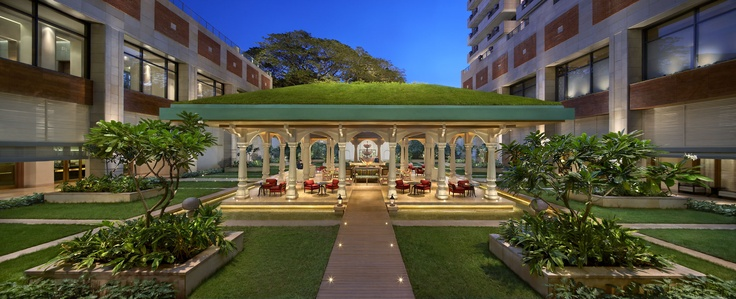 Open to the element and surrounded by water on all sides, with a garden sloping gently down its roof, Lotus Pavilion captures the spirit of Tipu Sultan's summer palace.   http://www.itchotels.in/Hotels/itcgardenia/Lotus-Pavilion-restaurant.aspx