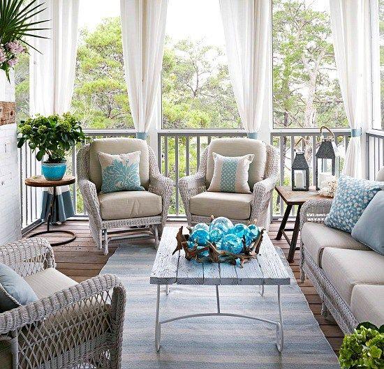 Beach Porch Decor l Outdoor Living l Bring The Inside Out l www.CarolinaDesigns.com