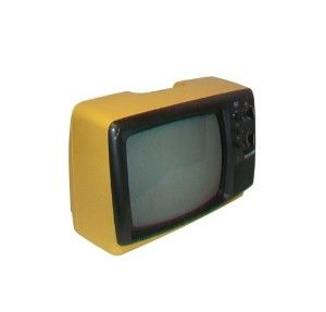 Vintage Yellow TV Portable 70s Panasonic Television. I had this in my room growing up.