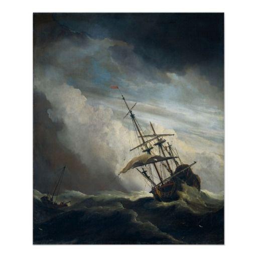 A Ship in Need in a Raging Storm by De Windstood #art