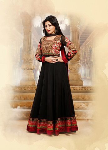 Floor length Designer Black Anarkali Suit – EthnicsPlace.com