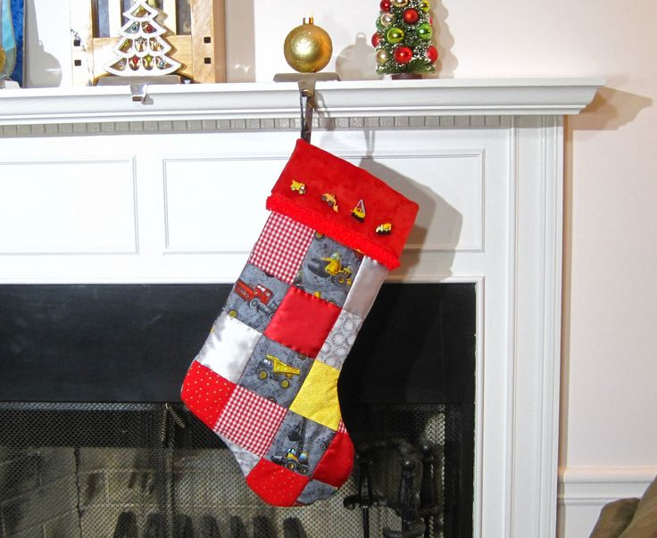 Tonka Trucks Patchwork Quilted Christmas Stocking Boy's Stocking Personalized Stocking Trucks and Tractors Stocking Tonka Toys Stocking by hobbymakers on Etsy