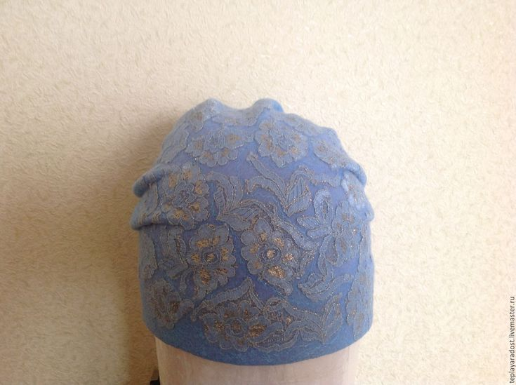 """Купить Авторская валяная шапка """"Кружево"""" - голубой, авторская ручная работа, аксессуары ручной работы"""