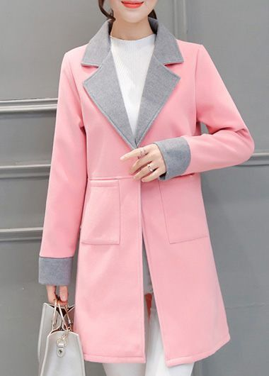 Turndown Collar Long Sleeve Pink Coat  on sale only US$37.31 now, buy cheap Turndown Collar Long Sleeve Pink Coat  at lulugal.com