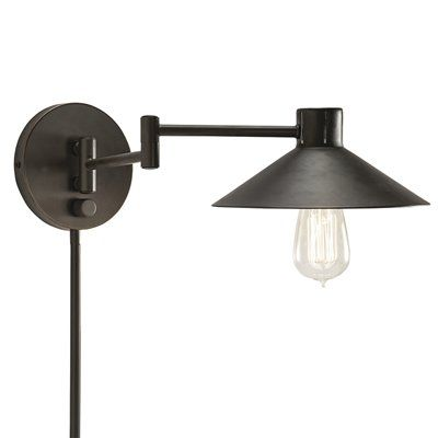 Portfolio 7-in H Olde Bronze Swing-Arm Wall-Mounted Lamp with Metal Shade