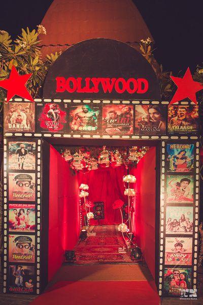 Bollywood theme sangeet entrance decor idea in 2019  Movie themed wedding  Bollywood theme